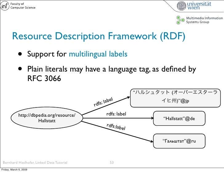 Resource Description Framework (RDF)              •          Support for multilingual labels               •          Plai...