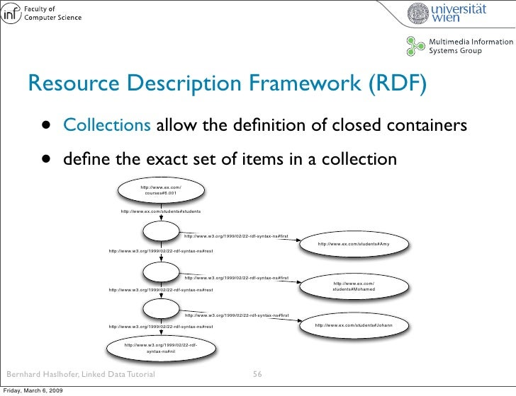 Resource Description Framework (RDF)              •          Collections allow the definition of closed containers         ...