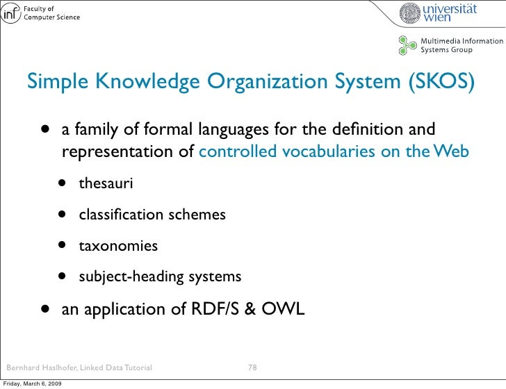 Simple Knowledge Organization System (SKOS)               •          a family of formal languages for the definition and   ...