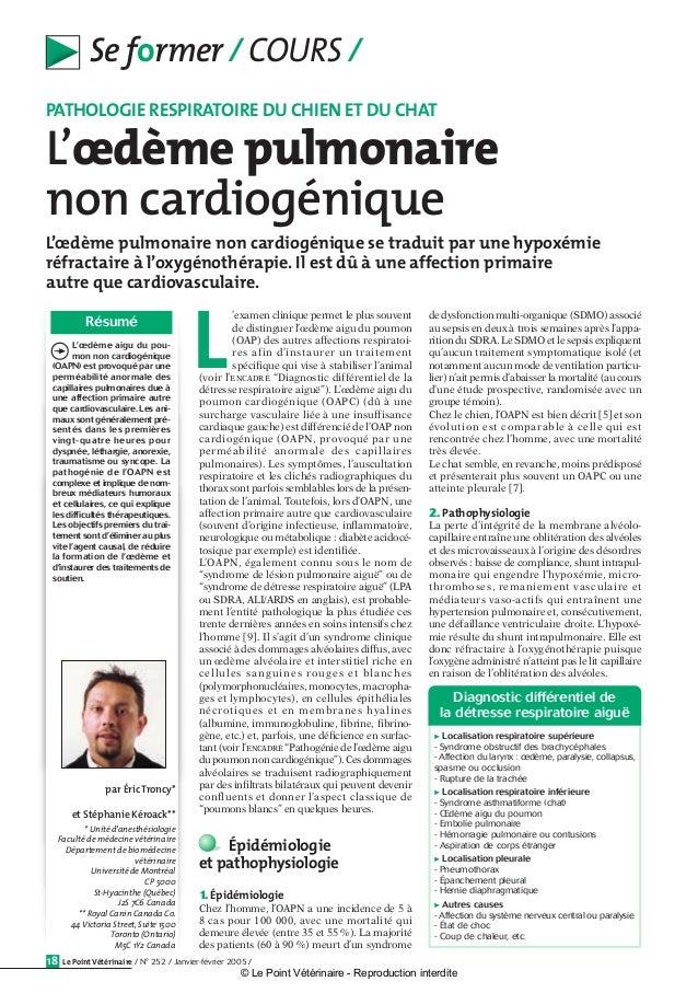 Le Point Vétérinaire / N° 252 / Janvier-février 2005 /18 Se former / COURS / L'œdème pulmonaire non cardiogénique se tradu...