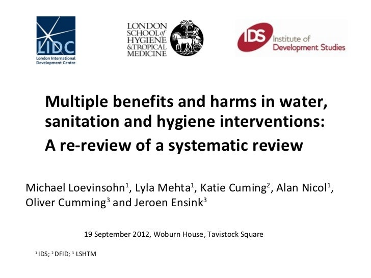Multiple benefits and harms in water,       sanitation and hygiene interventions:       A re-review of a systematic review...