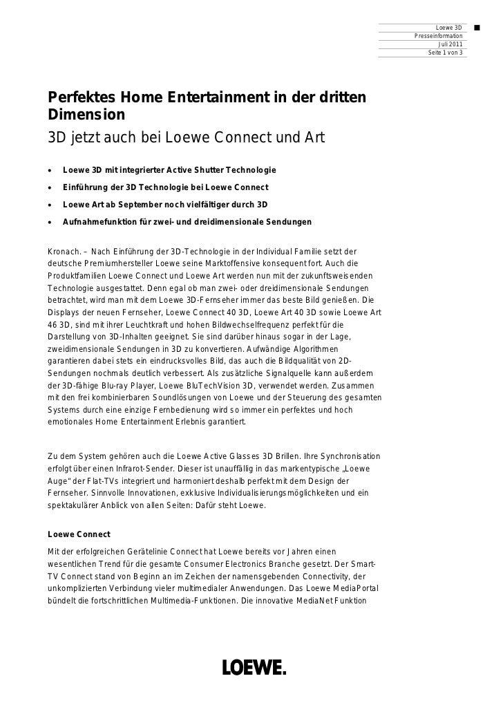 Loewe 3D                                                                                          Presseinformation       ...