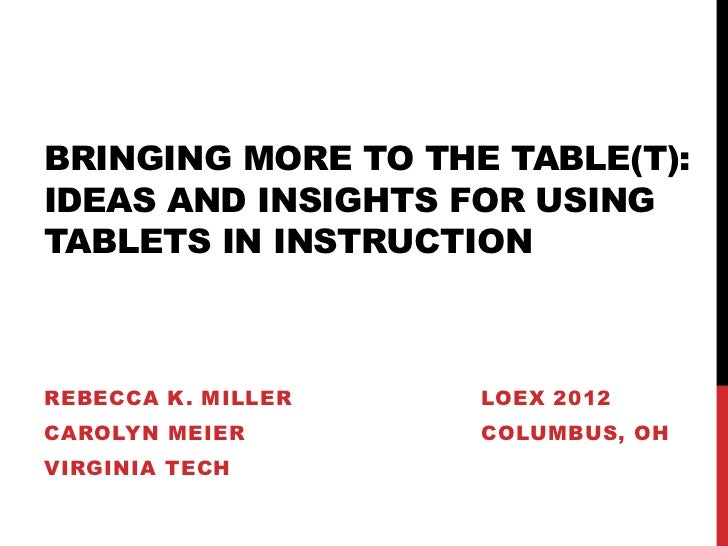 BRINGING MORE TO THE TABLE(T):IDEAS AND INSIGHTS FOR USINGTABLETS IN INSTRUCTIONREBECCA K. MILLER   LOEX 2012CAROLYN MEIER...