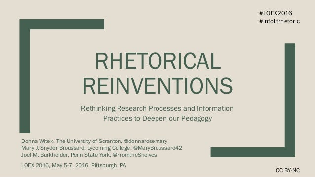 RHETORICAL REINVENTIONS Rethinking Research Processes and Information Practices to Deepen our Pedagogy Donna Witek, The Un...