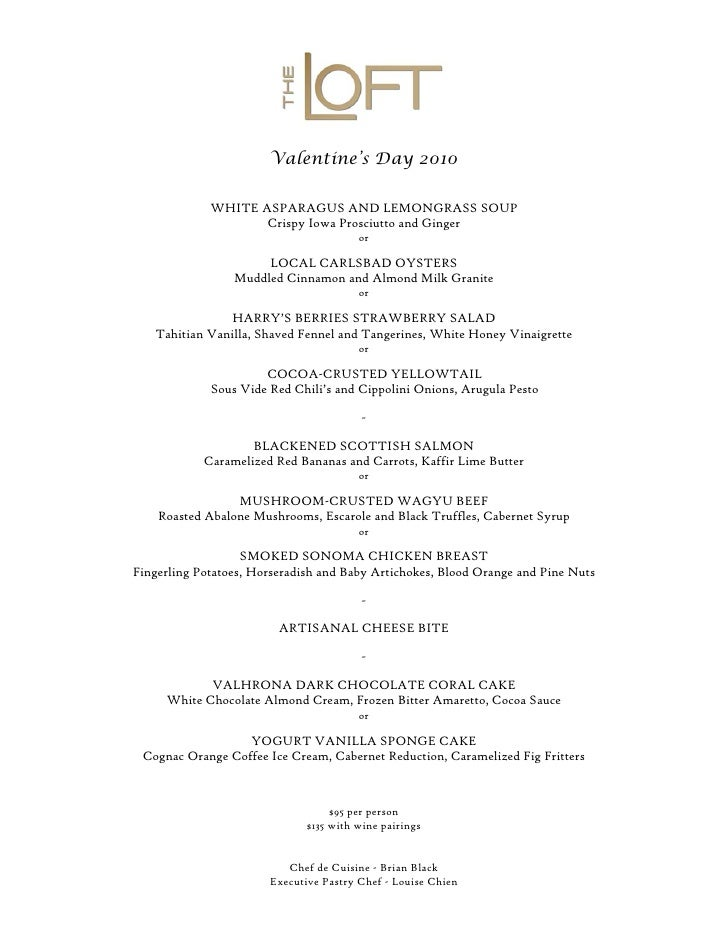 Valentine's Day 2010               WHITE ASPARAGUS AND LEMONGRASS SOUP                     Crispy Iowa Prosciutto and Ging...