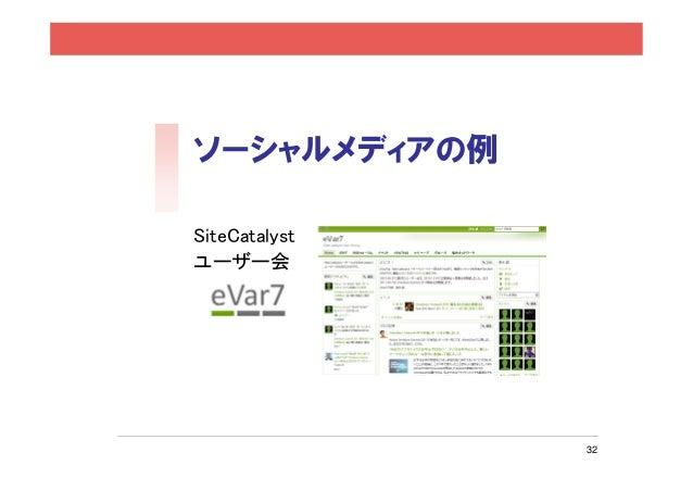 ソーシャルメディアの例SiteCatalystユーザー会 「eVar7」               32