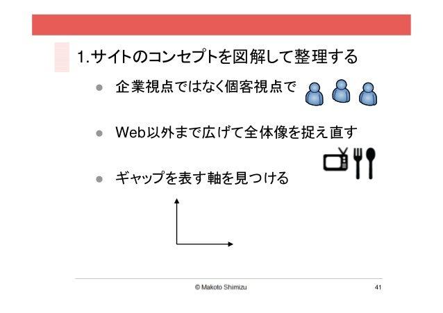 1.サイトのコンセプトを図解して整理する  企業視点ではなく個客視点で  Web以外まで広げて全体像を捉え直す  ギャップを表す軸を見つける                       41