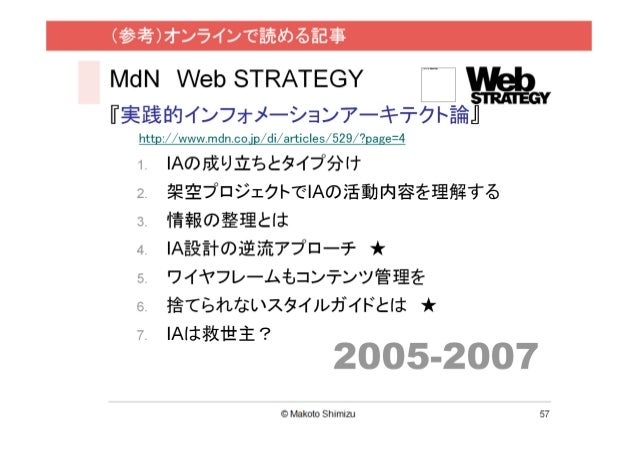 MdN Web STRATEGY『実践的インフォメーションアーキテクト論』 http://www.mdn.co.jp/di/articles/529/?page=4 1.   IAの成り立ちとタイプ分け 2.   架空プロジェクトでIAの活動内...