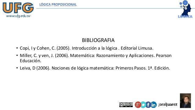 BIBLIOGRAFIA • Copi, I y Cohen, C. (2005). Introducción a la lógica . Editorial Limusa. • Miller, C. y ven, J. (2006). Mat...