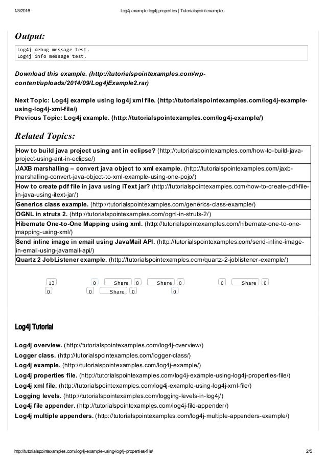 Log4j Example Log4j