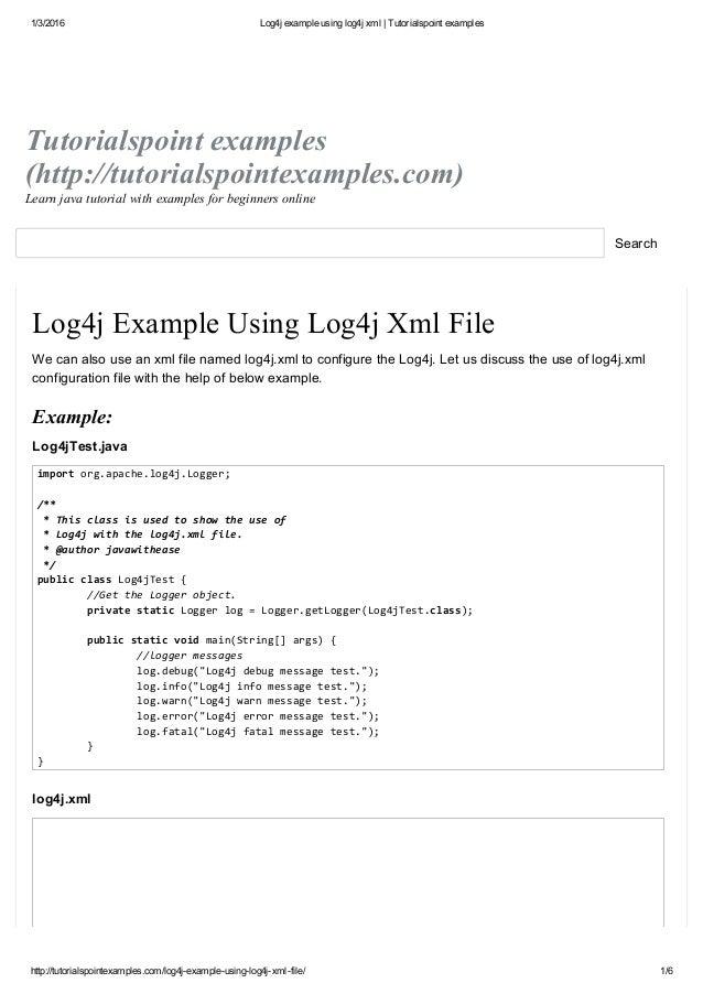 Log4j Example Using Log4j Xml Tutorialspoint Examples