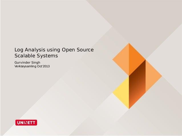 Log Analysis using Open Source Scalable Systems Gurvinder Singh Verktøysamling Oct'2013