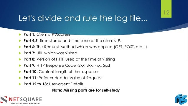 Let's divide and rule the log file... 12  Part 1: Client's IP Address  Part 4,5: Time stamp and time zone of the client'...