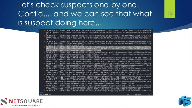 Let's check suspects one by one, Cont'd.... and we can see that what is suspect doing here... 15