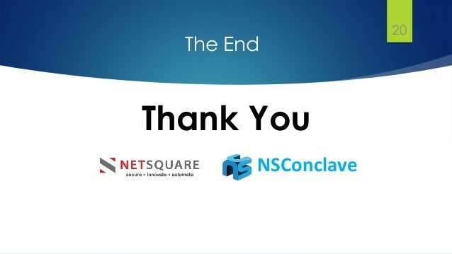 The End Thank You 20 NSConclave
