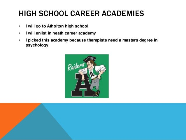 HIGH SCHOOL CAREER ACADEMIES  • I will go to Atholton high school  • I will enlist in heath career academy  • I picked thi...