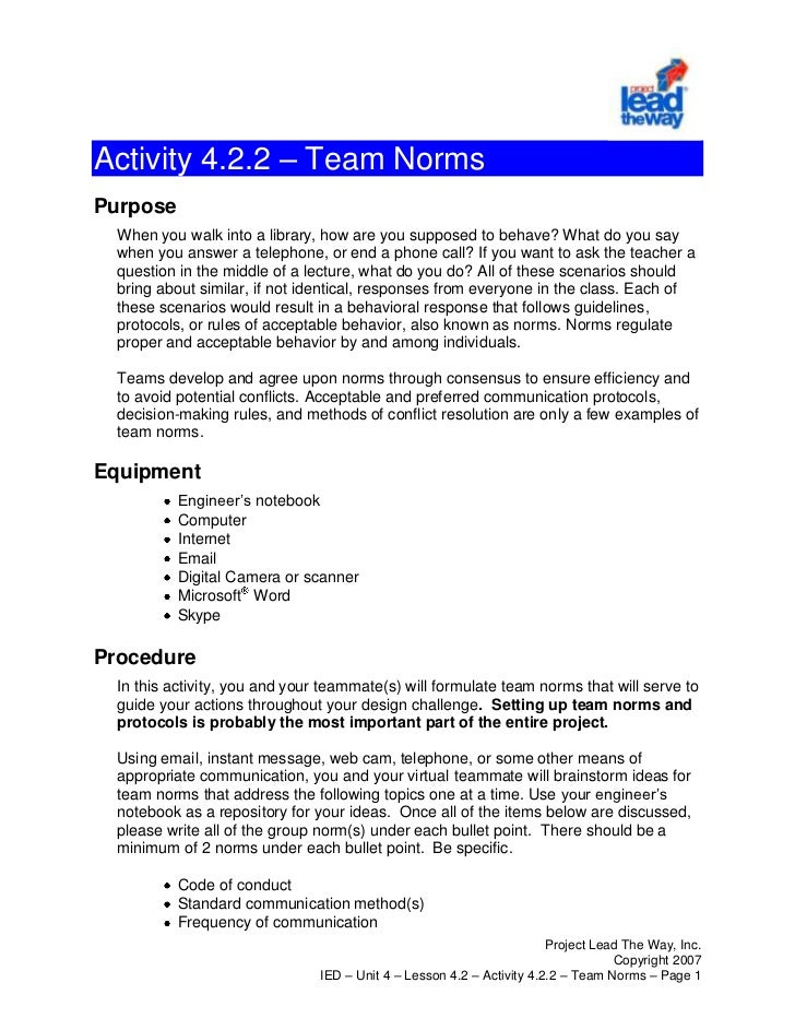 Activity 4.2.2 – Team Norms<br />Purpose<br />When you walk into a library, how are you supposed to behave? What do you sa...