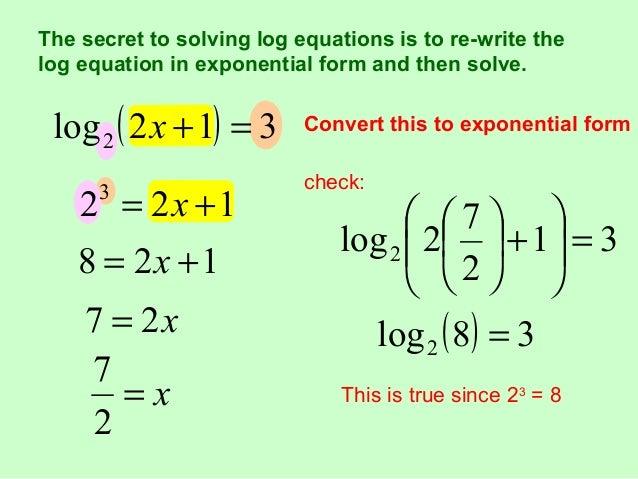Nirinsou re write as a logarithmic equation