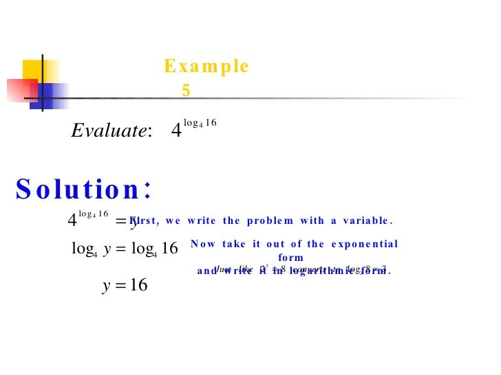 what is logarithmic function with example