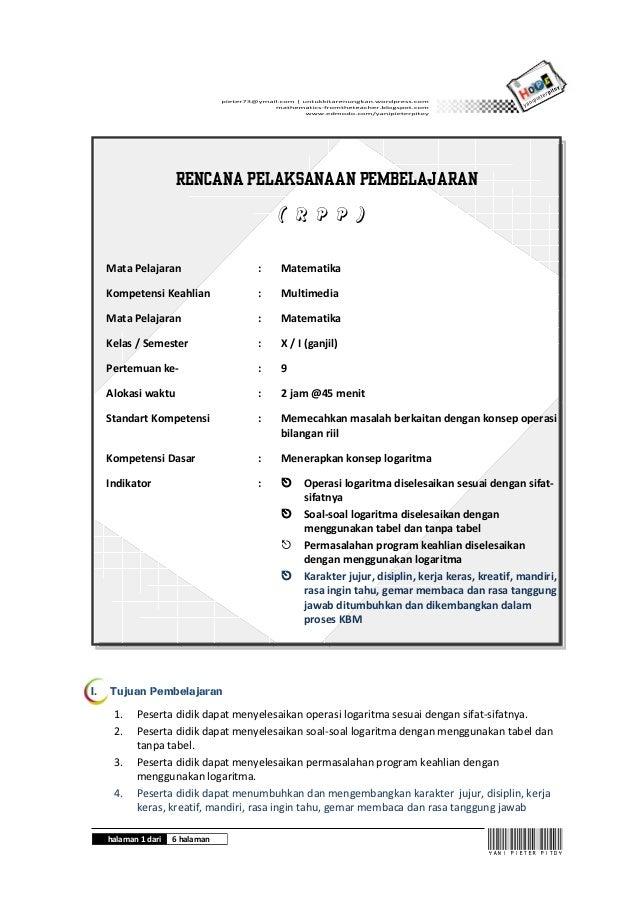 Rencana Pelaksanaan Pembelajaran                                       ( R P P )     Mata Pelajaran                :    Ma...