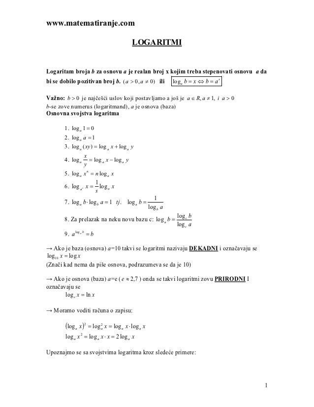 www.matematiranje.com                                         LOGARITMILogaritam broja b za osnovu a je realan broj x koji...