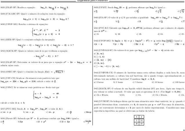 Logaritmos para Concursos µ28)(FAAP-SP) Resolva a equação: log 𝑥 2 . log 𝑥 16 2 = log 𝑥 64 2. µ29)(F.M.ABC-SP) Qual é o nú...