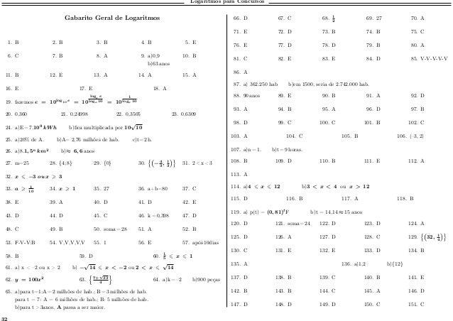 Logaritmos para Concursos Gabarito Geral de Logaritmos 1. B 2. B 3. B 4. B 5. E 6. C 7. B 8. A 9. a)0,9 b)63 anos 10. B 11...