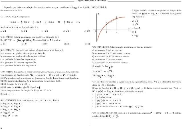 Logaritmos para Concursos Supondo que haja uma relação de alometria entre x e y e considerando log10 2 = 0, 301, determine...