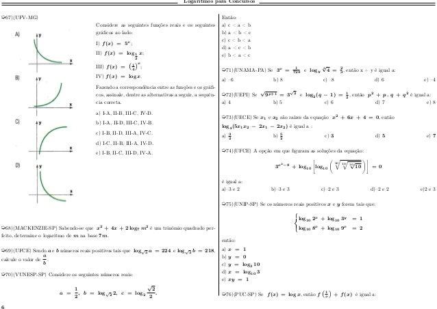 Logaritmos para Concursos µ67)(UFV-MG) Considere as seguintes funções reais e os seguintes gráficos ao lado: I) 𝑓(𝑥) = 5 𝑥...