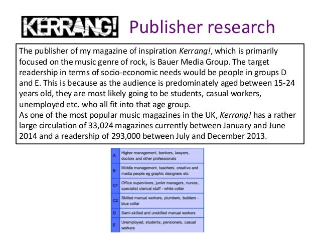 Publisher research The publisher of my magazine of inspiration Kerrang!, which is primarily focused on the music genre of ...