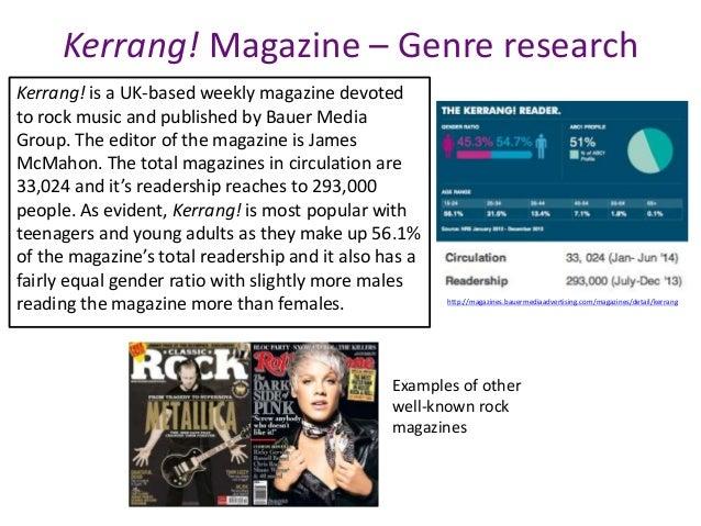 Kerrang! Magazine – Genre research http://magazines.bauermediaadvertising.com/magazines/detail/kerrang Kerrang! is a UK-ba...