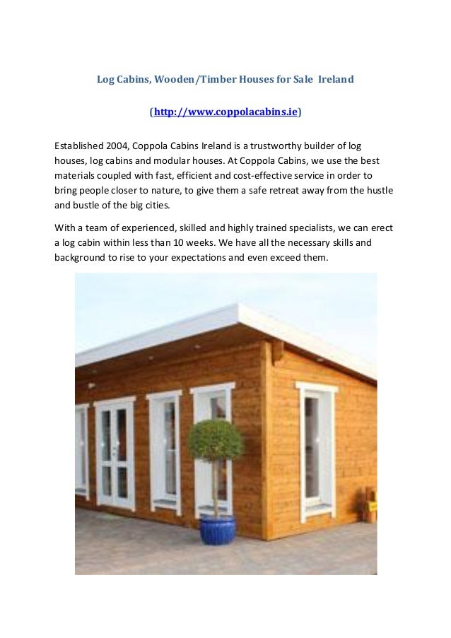 Log Cabins Wooden Timber Houses For Sale Ireland