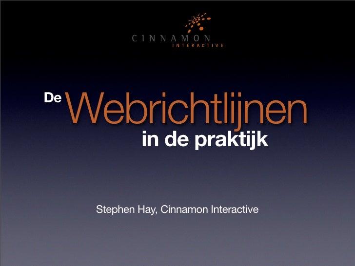 Webrichtlijnen De                 in de praktijk         Stephen Hay, Cinnamon Interactive
