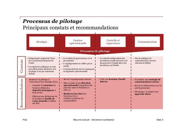 PwC Processus de pilotage Principaux constats et recommandations Slide 5 ConstatsRecommandations • Eloignement progressif ...
