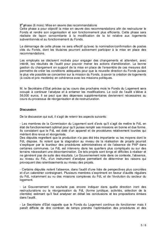 5 / 6 2e phase (6 mois): Mise en œuvre des recommandations Cette phase a pour objectif la mise en œuvre des recommandation...