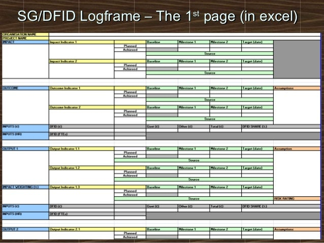 sgdfid logframe the 1st page in excel