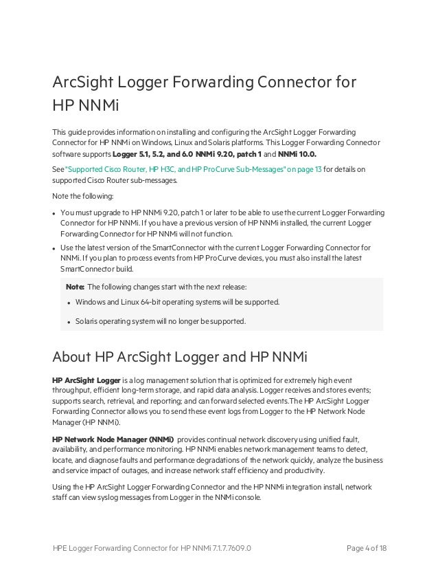 Logger Forwarding Connector for HPE NNMi Configuration Guide