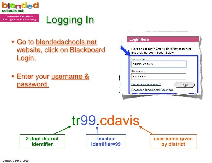 Logging In    Customizing Solutions  Through Blended Learning            • Go to blendedschools.net             website, c...