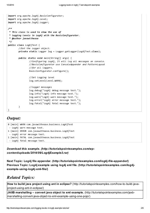 Logging Levels In Log4j Tutorialspoint Examples
