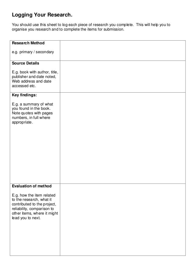 Logging Your Research. You should use this sheet to log each piece of research you complete. This will help you to organis...