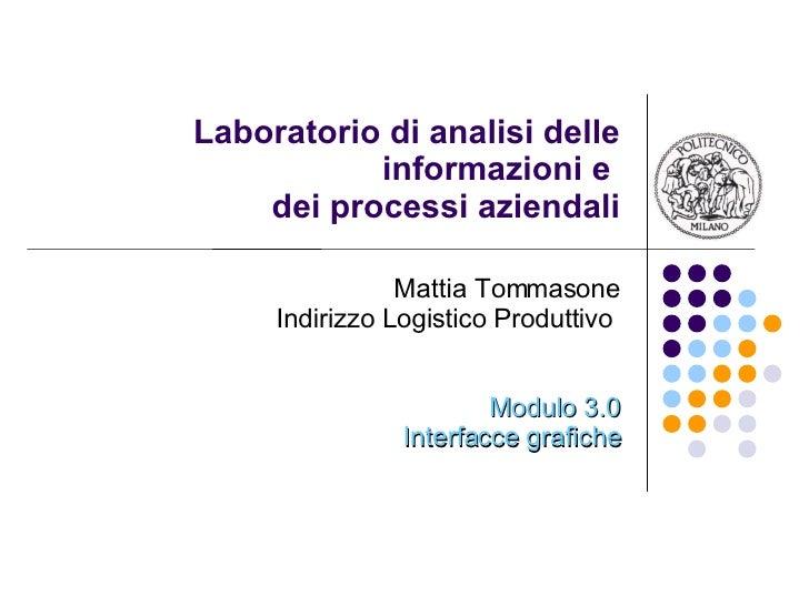 Laboratorio di analisi delle informazioni e  dei processi aziendali Mattia Tommasone Indirizzo Logistico Produttivo  Modul...