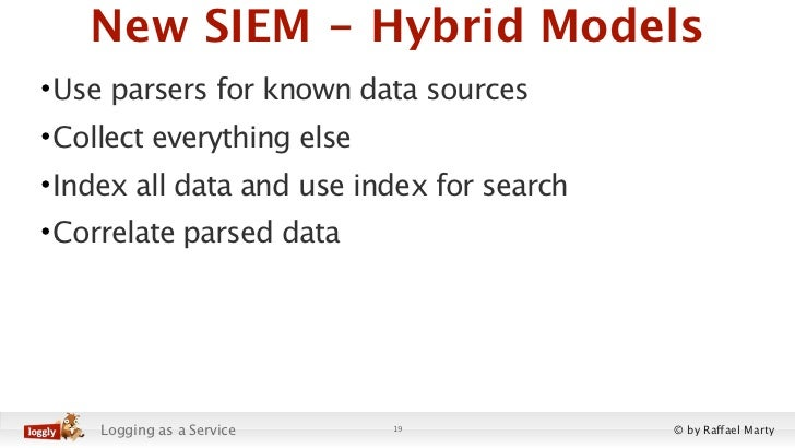New SIEM - Hybrid Models• Use parsers for known data sources• Collect everything else• Index all data and use index for se...