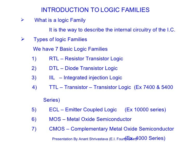 INTRODUCTION TO LOGIC FAMILIES <ul><ul><li>What is a logic Family </li></ul></ul><ul><ul><li>It is the way to describe the...