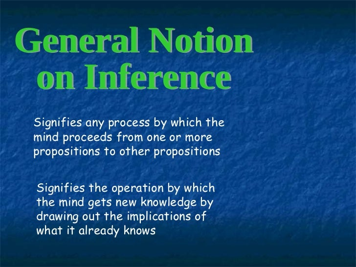 General Notion  on Inference Signifies any process by which the mind proceeds from one or more propositions to other propo...