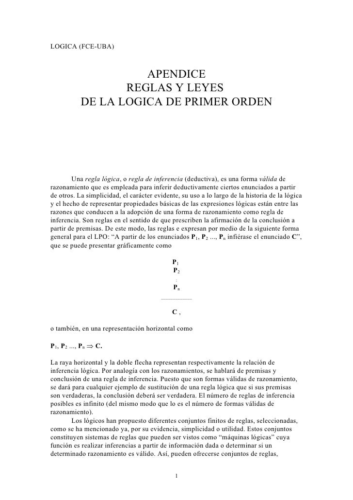 LOGICA (FCE-UBA)                     APENDICE                  REGLAS Y LEYES           DE LA LOGICA DE PRIMER ORDEN      ...