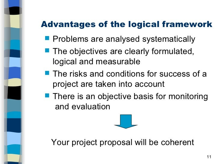 logical framework and project proposal Central to the project design process is the logical framework (logframe), which is developed from the cdcs results framework the logical frame validates and potentially updates the result.