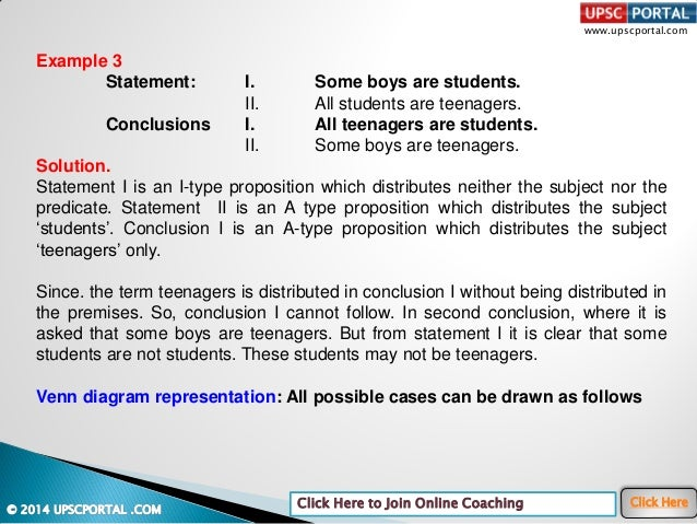 www.upscportal.com Click Here to Join Online Coaching Click Here Example 3 Statement: I. Some boys are students. II. All s...