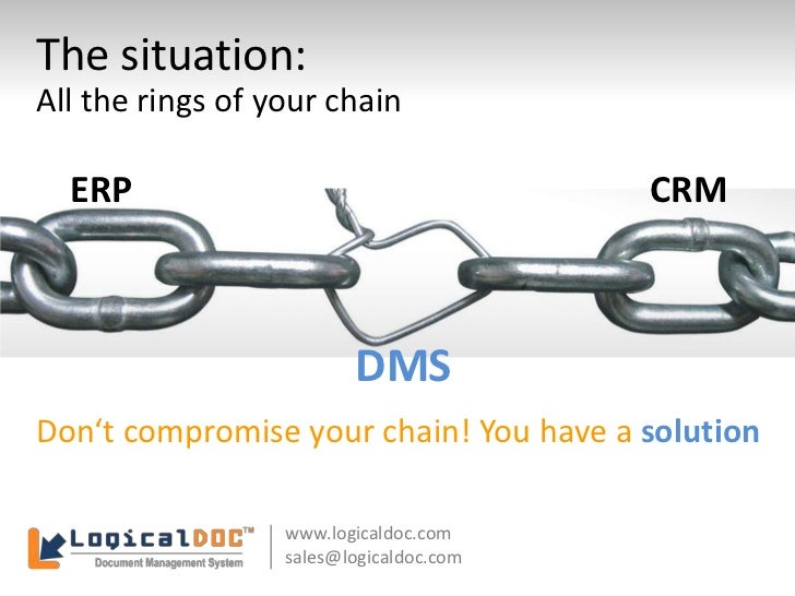 The situation:<br />All the rings of your chain<br />ERP<br />CRM<br />DMS<br />Don't compromise your chain! You have a so...