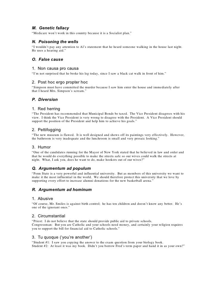 Logical Fallacies – Fallacies Worksheet