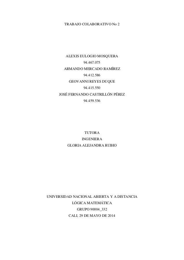 TRABAJO COLABORATIVO No 2 ALEXIS EULOGIO MOSQUERA 94.467.075 ARMANDO MERCADO RAMÍREZ 94.412.586 GEOVANNI REYES DUQUE 94.41...
